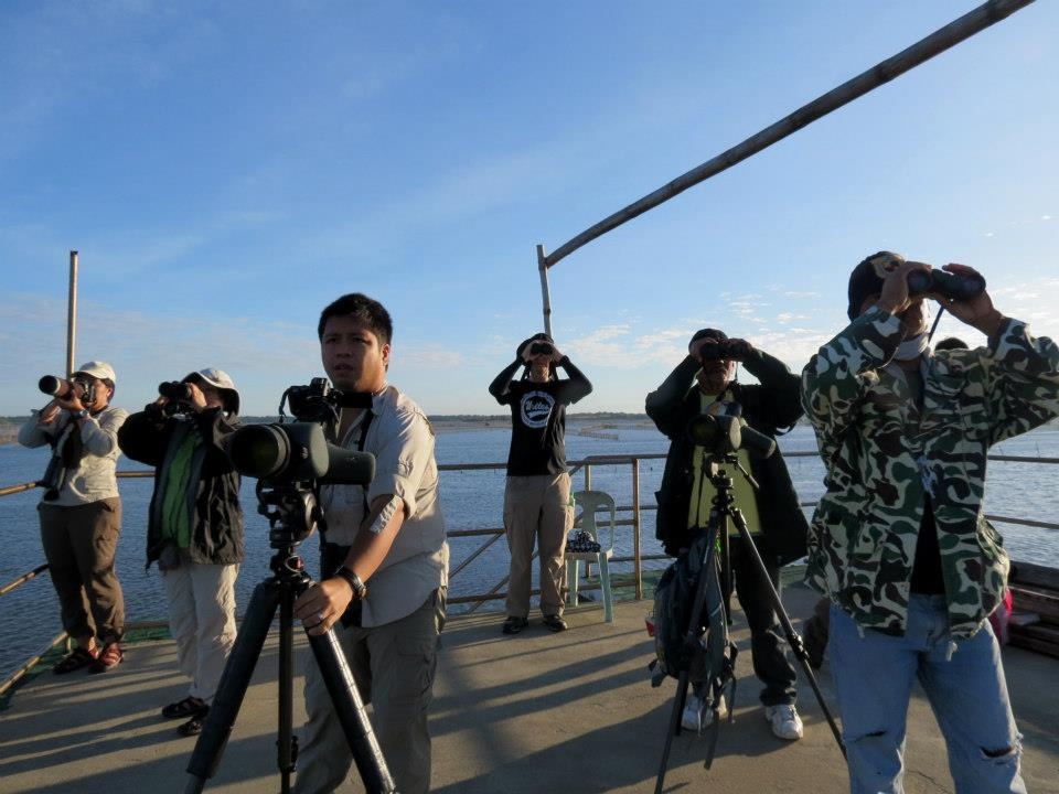 WBCP volunteers on the view deck, counting birds. Photo by Juan Mesquida.