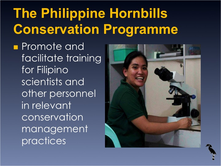 Dr. William Oliver,  6th International Hornbill Conference - Slide 13 One of the filipino curators attended endangered species management diploma course in Jersey; Training at the BCC: a keeper is taught to candle an egg. �