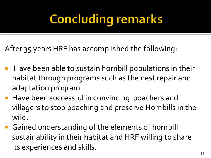 Dr. Woraphat Arthayukti, 6th International Hornbill Conference Manila, Philippines - Slide 18