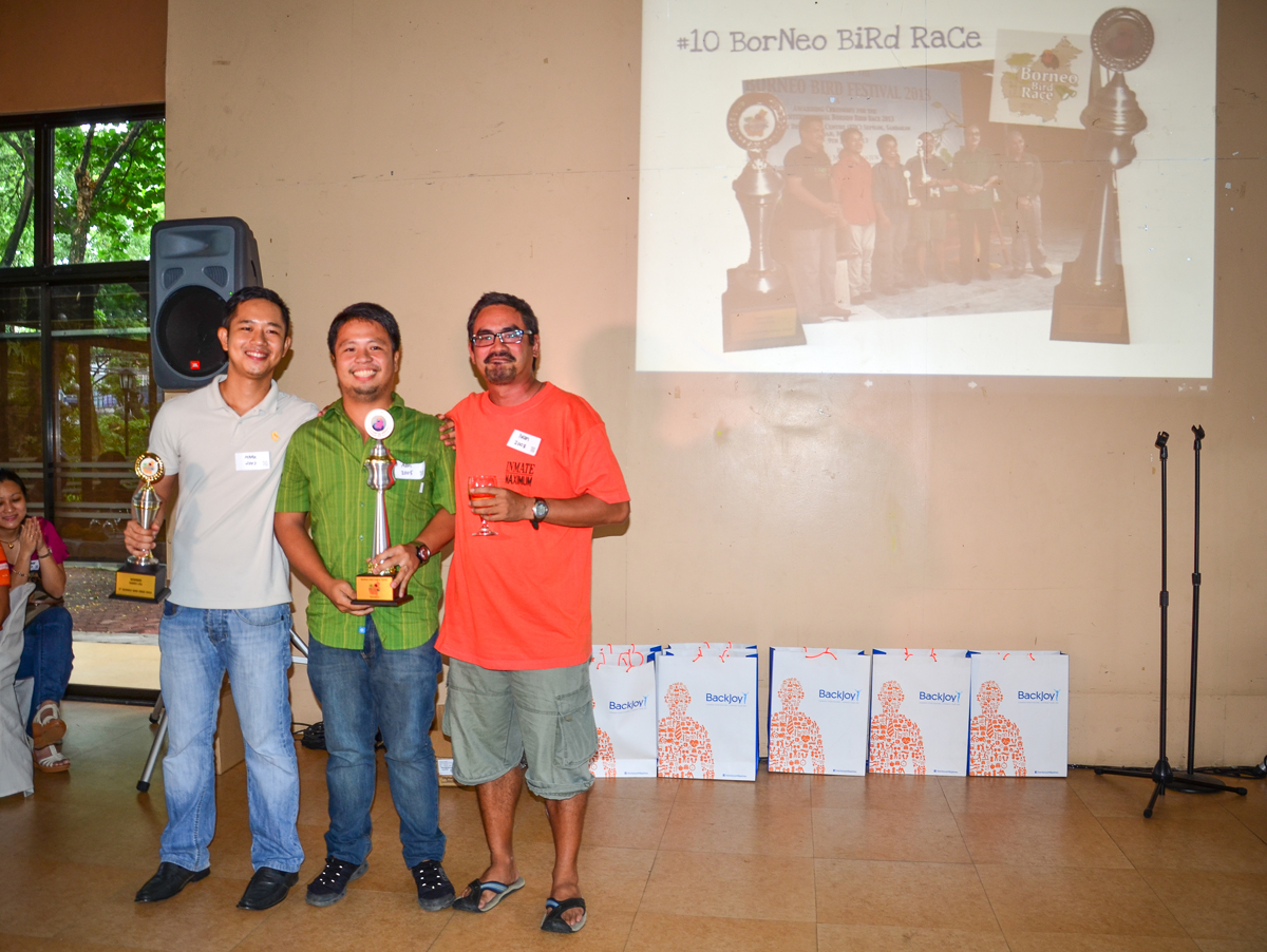 The winners of the Borneo Bird Race: Mark Villa, Adrian Constantino and Ivan Sarenas. Photo by Marites Falcon.