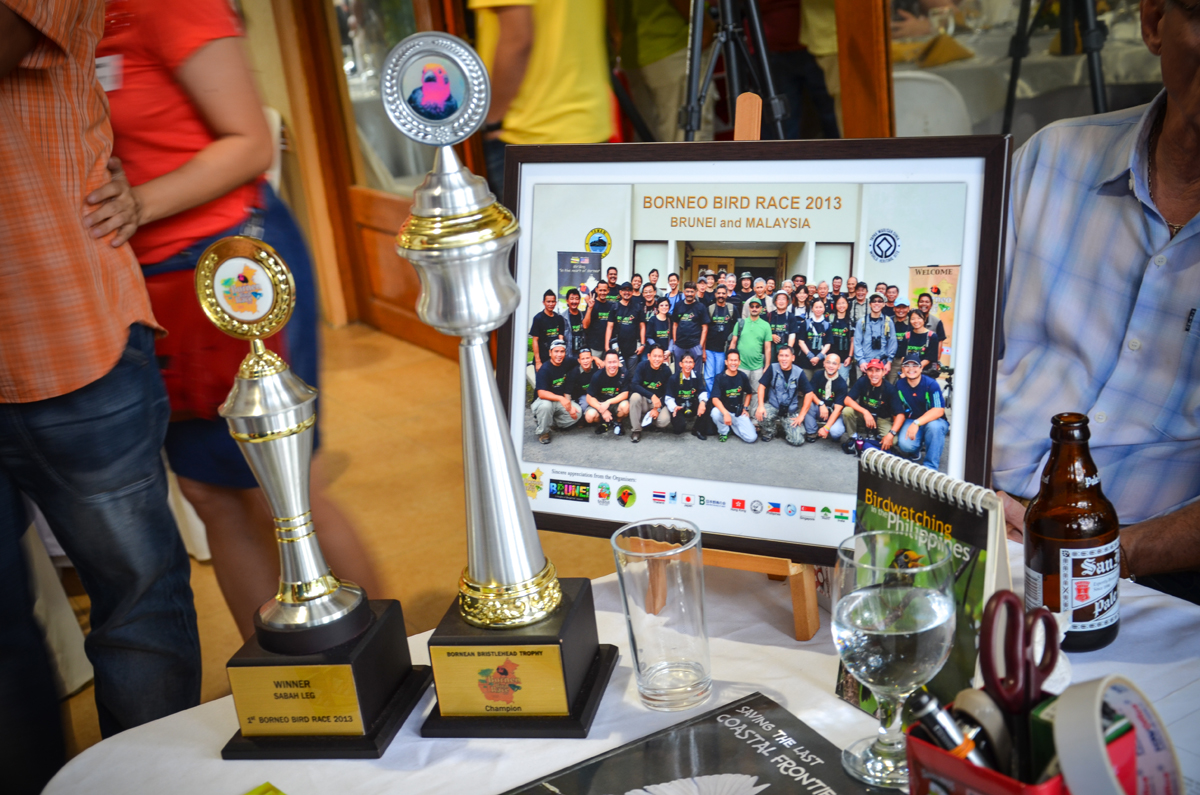 The Borneo Bird Race 2013 trophies. Hats off to the team for a job well done!  Photo by Marites Falcon.