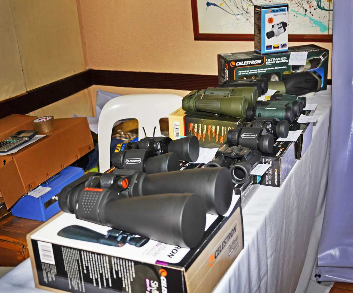 At the Celestron table (one of our partners), their birding gear in various sizes – bins and spotting scopes were also for sale during the event.   Photo by Marites Falcon.