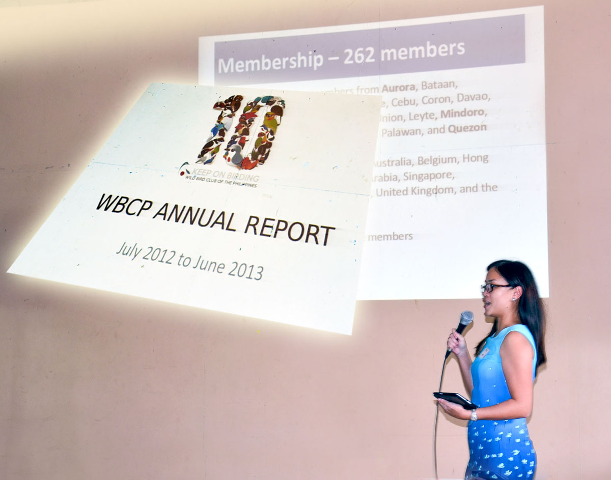 The WBCP Annual Report from July 2012 to June 2013 was presented by Maia Tañedo. Photo by Marites Falcon.
