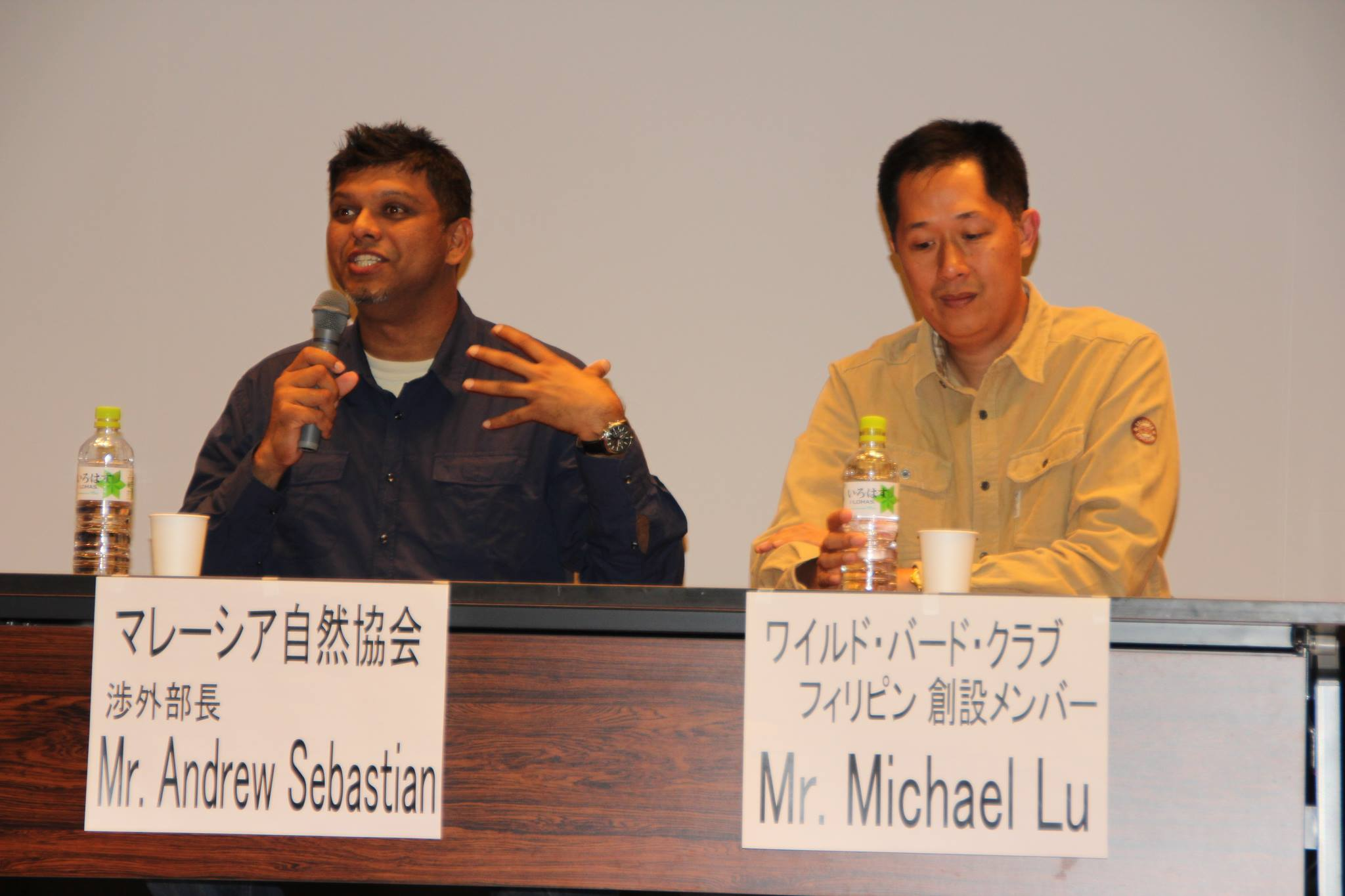 Speakers for the symposium were Andrew Sebastian of the Malaysian Nature Society (left) and WBCP Treasurer Mike Lu (right) Photo by Victor Yu
