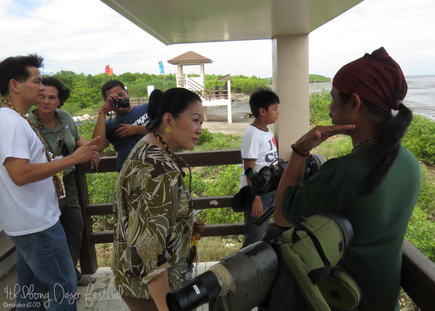 WBCP member Arnel Telesforo guides former Senator Nikki Coseteng at the Balanga Wetland Park. Photo by Maia Tanedo