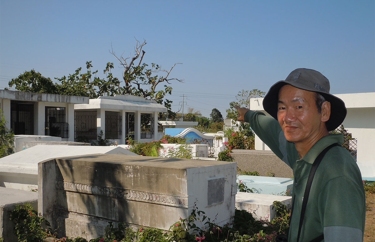 Richard Ruiz points to the tree where he saw the White-Cheeked (Gray) Starling at the Chinese cemetery.