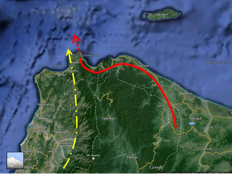 1.Red continuous line shows the path of raptors derived from last year's wild raptor chase. 2.Broken red line shows suspected land's end as derived from interviews with resident. 3. Broken yellow line shows another suspected route.