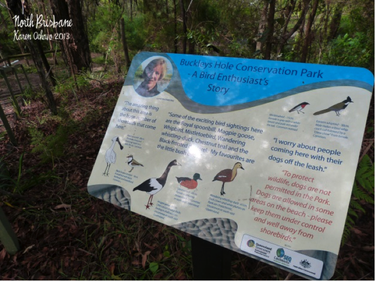 A well-illustrated and weather-proof sign board describing the birds that can be seen at Buckleys Hole Conservation Park, North Brisbane.