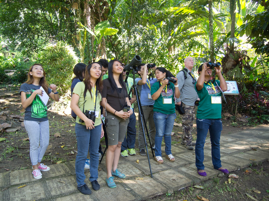 The participants enjoying birdwatching aroung the PEC and watershed areas.