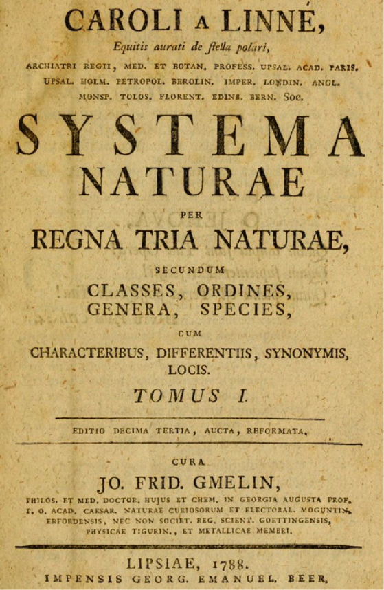 Title page of volume I of Gmelin's edition of Linnaeus' Systema Naturae (1788)