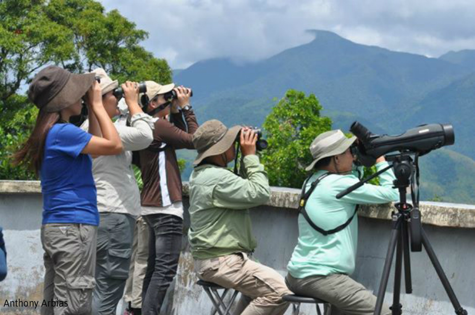 The Wild Bird Club of the Philippines–Raptor Study Group on the lookout at the PAGASA tower in Tanay, Rizal. Photo by Anthony Arbias.