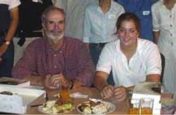 Bob Kennedy with his daughter in Manila in 2003 for the launching of the book at the Museum of the Filipino People (photo from the WBCP website)