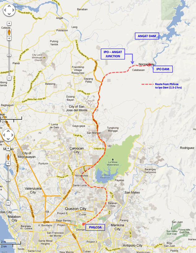 Route from Philcoa, Quezon City to Ipo Dam, Norzagaray, Bulacan (image from https://www.google.com.ph/maps)