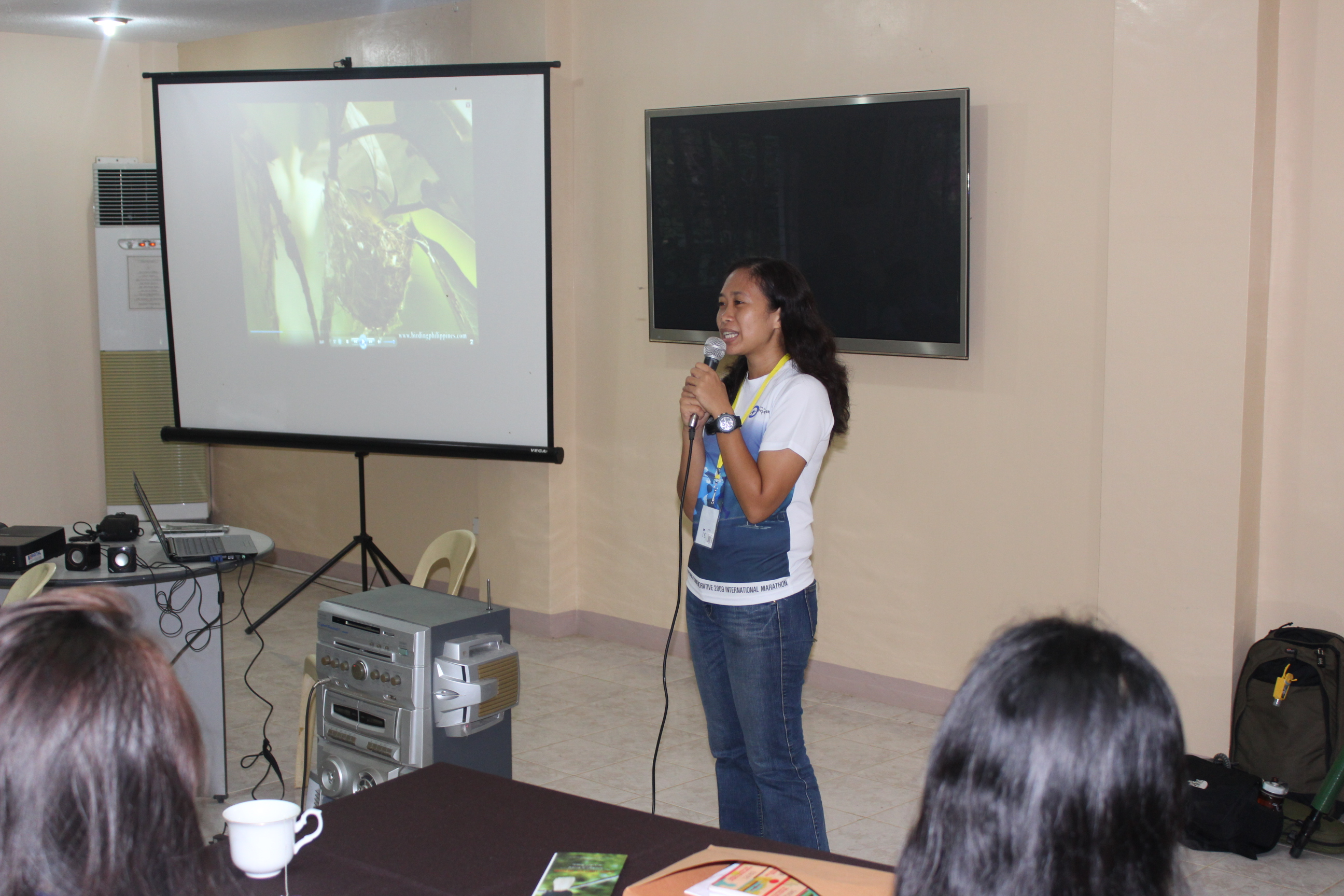 PEF biologist and education officer Rai Gomez giving the opening remarks. Photo by Trinket Constantino.