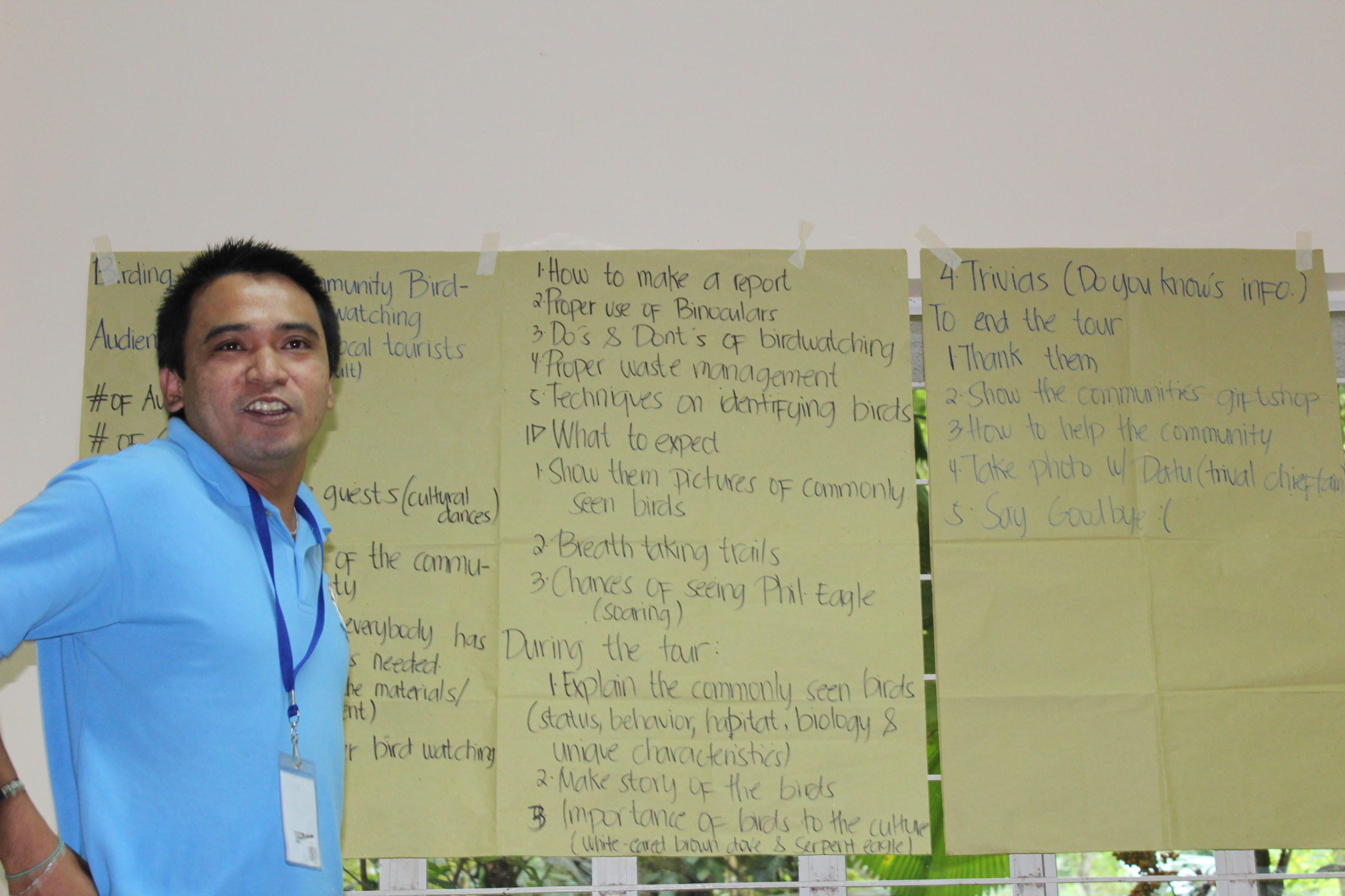 PEF Field biologist Joshua presenting his group's output for a community-based birdwalk. Photo by Trinket Constantino.