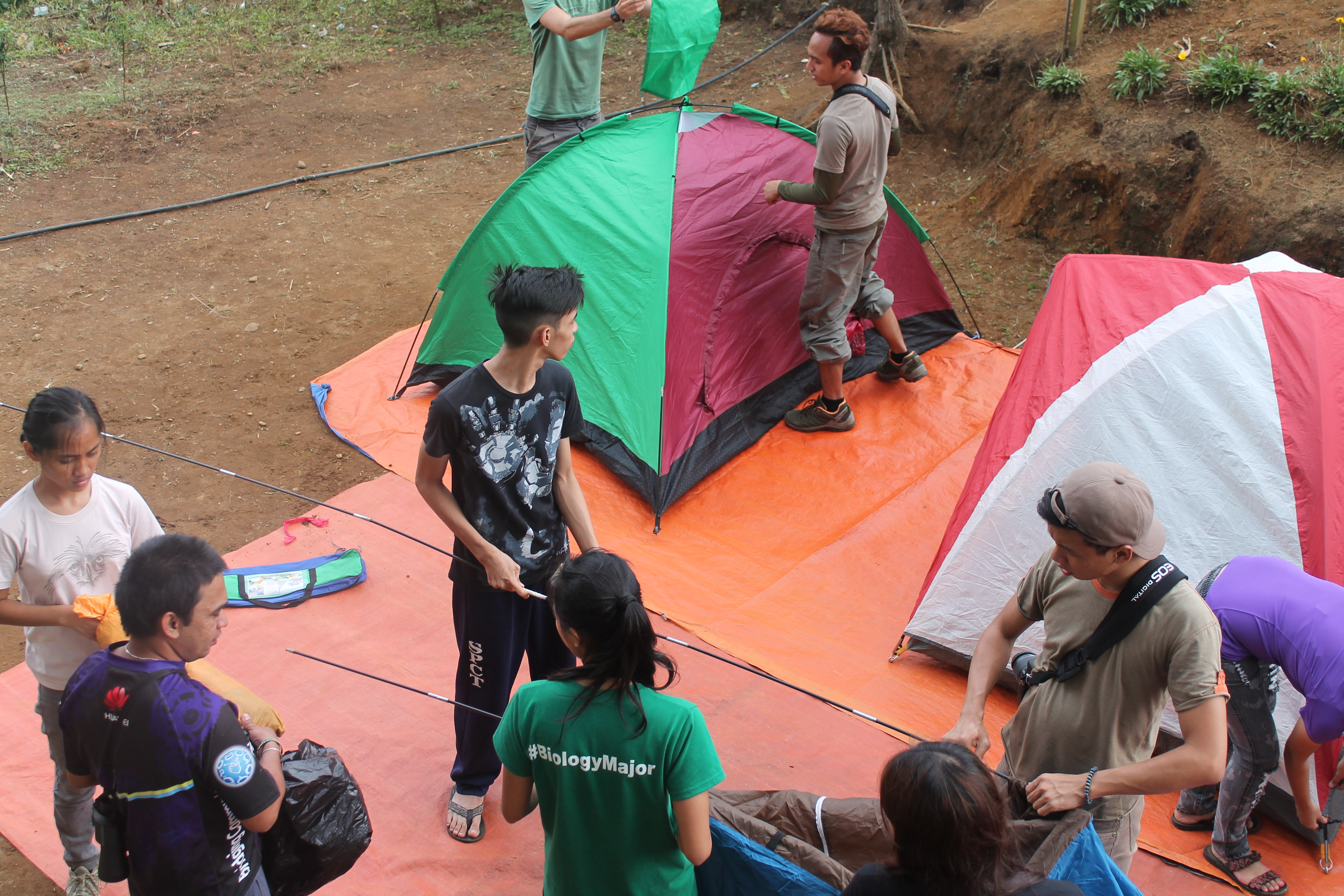 Setting up camp at site 2. Photo by Trinket Constantino.