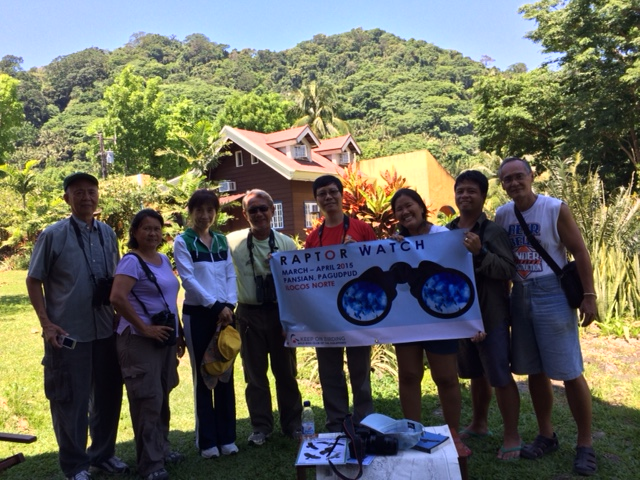 Raptorwatch team with the Consul of China during the peak of the Chinese Sparrowhawks on April 19, 2015