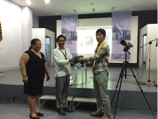 Donation of 3 new pairs of Nikon binoculars and a spotting scope were presented to the NWU V.P. Liza Nicolas and Michael Calaramo by Seiichi Dejima of the Nature Conservation Society of Japan. (3 Nikon binoculars & a spotting scope were also donated to the Cagayan State University), October 2015